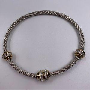 Jewelry - Silver Gold Tone Twist Wire Bracelet Rhinestones